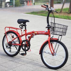 BGC-F20 TRAILER(トレイラー) 20インチ折りたたみ自転車 6段変速 カゴ/カギ/ライト付